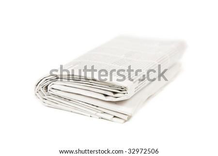 newspaper on white background - stock photo