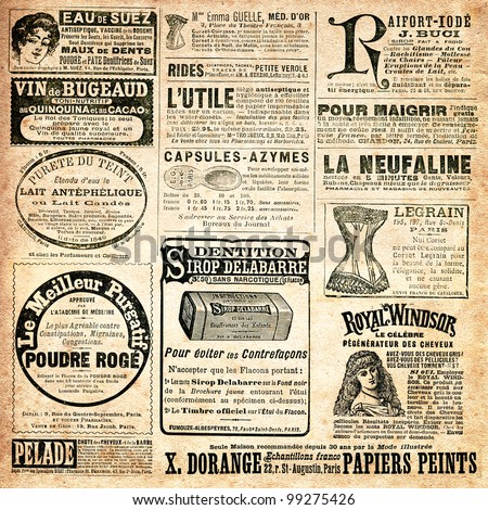 "Newspaper page with advertisement - Vintage engraved illustration - ""La mode illustree"" by Firmin-Didot et Cie in 1897 France - stock photo"