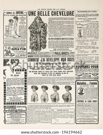 newspaper page with antique advertisement. Woman's fashion magazine Le Petit Echo de la Mode 1919 Paris, France - stock photo