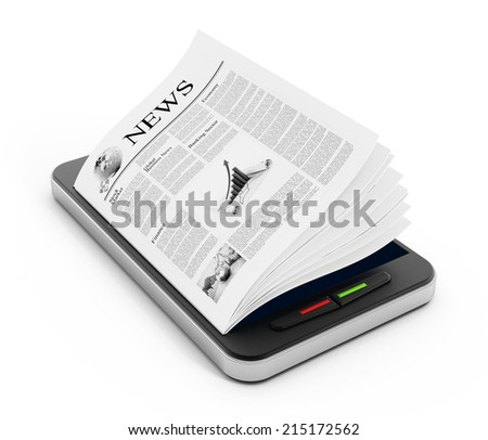 Newspaper pages on smartphone isolated on white.