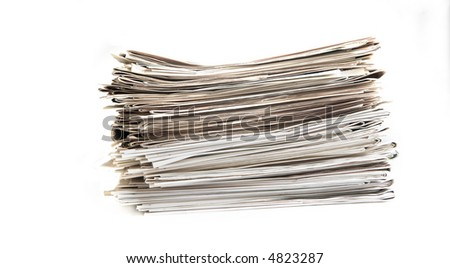 newspaper pile on white background