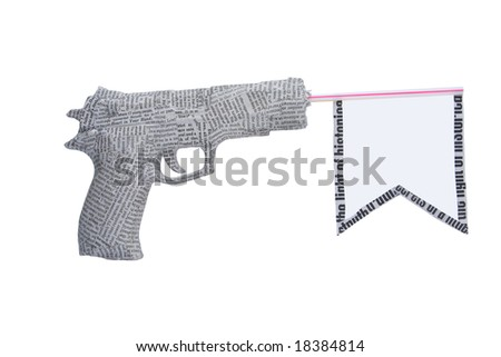 newspaper pistol with flag isolated on white background. fake - stock photo