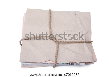 newspaper stack isolated on white background - stock photo