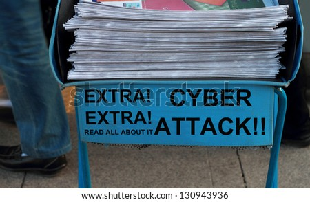 Newspaper stack - take one of these newspaper in the subway entrance. - stock photo