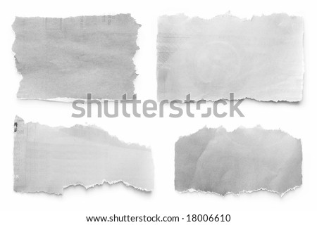 Newspaper tears collection, casting natural shadow on white. - stock photo