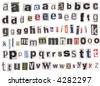Newspaper uppercase cutouts isolated on white. Mix and match to make your own words - stock photo