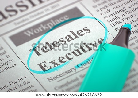 Newspaper with Advertisements and Classifieds Ads for Vacancy Telesales Executive. Blurred Image. Selective focus. Job Seeking Concept. 3D Render. - stock photo