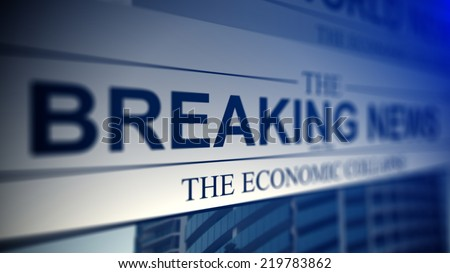 Newspaper with breaking news titles. Shallow depth of field. - stock photo