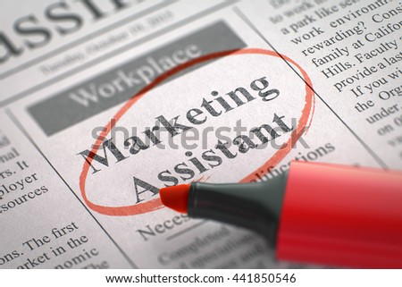 Newspaper with Classified Advertisement of Hiring Marketing Assistant. Blurred Image with Selective focus. Hiring Concept. 3D Render. - stock photo