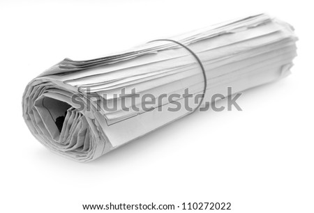 newspaper with news closeup on white background - stock photo