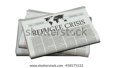 newspaper with the headline refugee crisis - 3d rendering