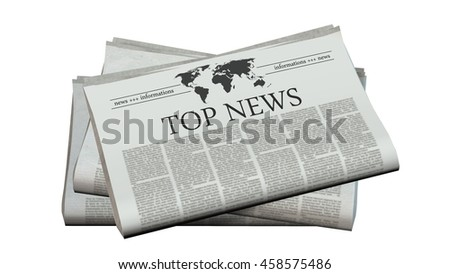 newspaper with the headline top news - 3d rendering