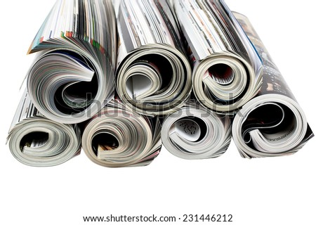 Newspapers and magazine isolated white background  - stock photo