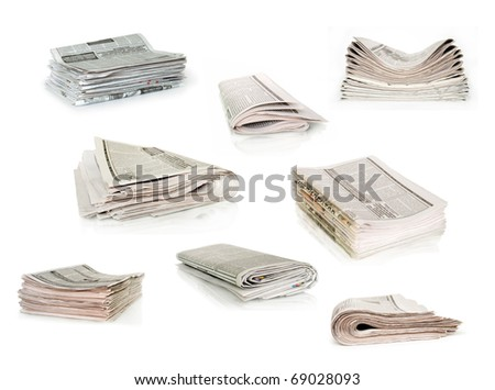 newspapers collection isolated on white