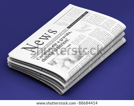Newspapers on blue background - stock photo