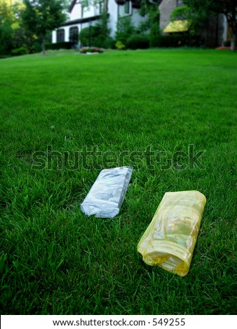 Newspapers on lawn - stock photo