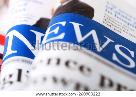 Newspapers.Selective focus. - stock photo