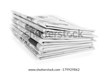 Newspapers stack on white background