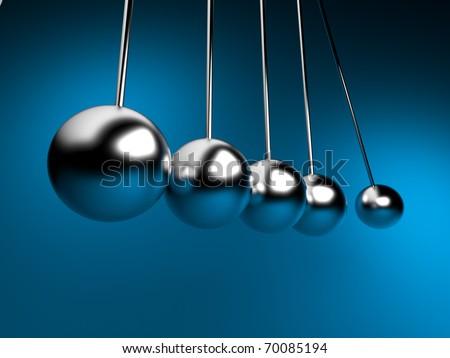 newton cradle 3d balancing. pendulum - stock photo