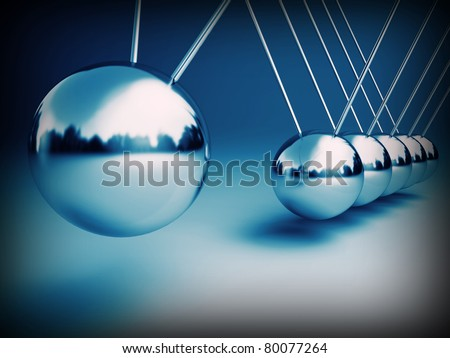newton cradle 3d ballancing balls fine background - stock photo