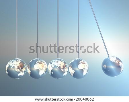 Newton cradle pendulums in Earth-Look - stock photo