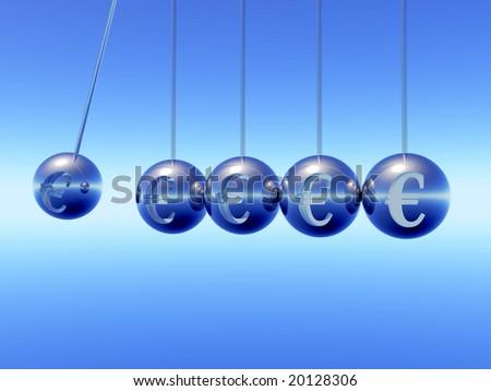 Newton cradle pendulums with Euro Symbole - stock photo
