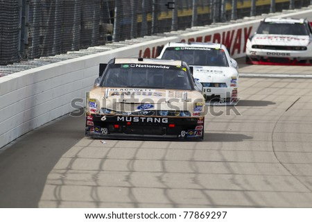 NEWTON, IA - MAY 22, 2011:  Ricky Stenhouse, Jr. (6) holds off the field to win The Inaugural Iowa John Deere Dealers 250 race at the Iowa Speedway in Newton, IA on May 22, 2011. - stock photo