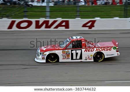 Newton Iowa, USA - July 11, 2014: NASCAR Camping World Truck Series, American Ethanol 200. Iowa Speedway. 17 Timothy Peters, Toyota, Red Horse Racing - stock photo