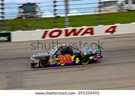 Newton Iowa, USA - July 11, 2014: NASCAR Camping World Truck Series, American Ethanol 200. Iowa Speedway. 99 Bryan Silas, Chevrolet, T3R2 Racing - stock photo