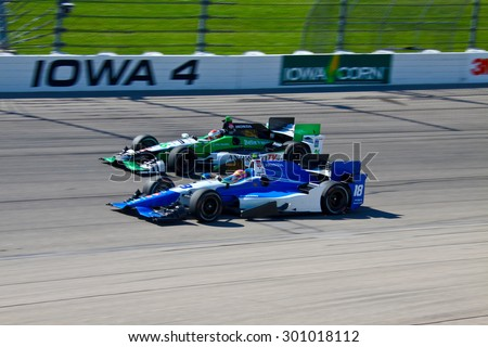 Newton, Iowa USA - July 17, 2015: Verizon IndyCar Series Iowa Corn Indy 300. 18 Pippa Mann Ipswich, England Dale Coyne Racing Honda. Race practice session. - stock photo