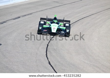 Newton, Iowa USA - July 9, 2016: Verizon IndyCar Series Iowa Corn Indy 300. Race drivers and teams practice before the race. Conor Daly #18, Dale Coyne Racing, Jonathan Byrd's Hospitality