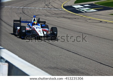 Newton, Iowa USA - July 9, 2016: Verizon IndyCar Series Iowa Corn Indy 300. Race drivers and teams practice before the race. Gabby Chaves #19, Dale Coyne Racing, Boy Scouts of America