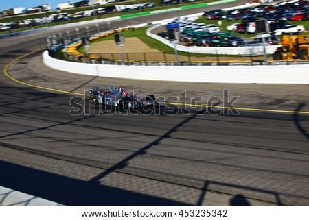 Newton, Iowa USA - July 9, 2016: Verizon IndyCar Series Iowa Corn Indy 300. Race drivers and teams practice before the race. Will Power #12, Team Penske, Verizon