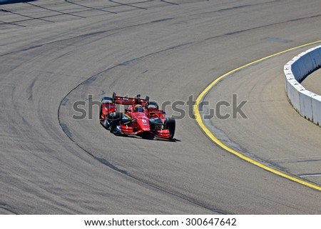 Newton, Iowa USA - July 17, 2015: Verizon IndyCar Series Iowa Corn Indy 300. 8 Sage Karam (R) Nazareth, Pa. Comfort Revolution/Big Machine Records Chevrolet Chip Ganassi Racing Teams. Race practice.