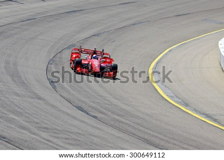 Newton, Iowa USA - July 17, 2015: Verizon IndyCar Series Iowa Corn Indy 300. 9 Scott Dixon Auckland, New Zealand Target Chip Ganassi Racing Chevrolet Chip Ganassi. On track action.