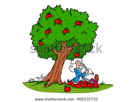 Newton law gravitation discovery cartoon illustration  character  - stock photo