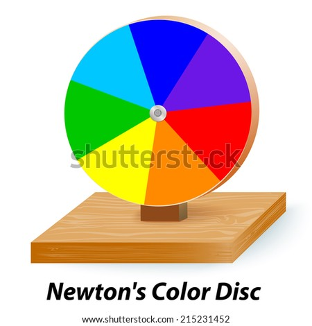 Newton's Color Disc.  When the wheel is set in motion they blend together giving a simulation of white light. - stock photo