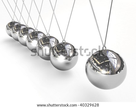 Newton's cradle balancing balls - stock photo