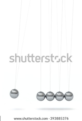 Newton's Cradle - Five Silver Chrome 3D Metallic Pendulum in Raw - Front View - Isolated on White Background. Hanging Pendulum with Reflections on Surface - Vertical - First Sphere in Action. - stock photo