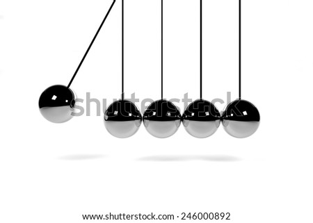 newton's cradle hanging chrome balls on white 3D render - stock photo