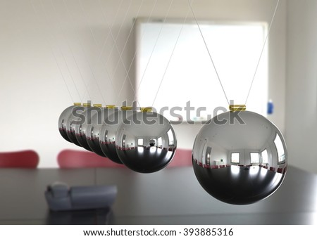 Newton's Cradle - Seven Silver, Chrome 3D Pendulum with Meeting Room Interior Background. Perspectively Hanging Pendulum, Polished and with Reflection on Surface. Silver Colored Spheres - Closeup. - stock photo