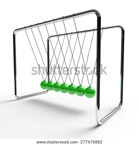 Newton's cradle with green colored balls suspended from metal frame on a white background - stock photo