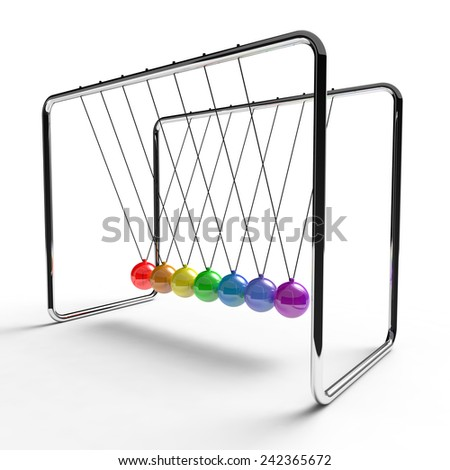 Newton's cradle with rainbow colored balls suspended from metal frame on a white background - stock photo