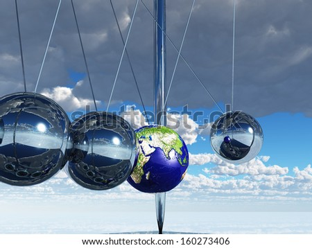 Newtons Cradle Earth - stock photo