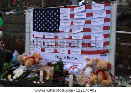 NEWTOWN, CONNECTICUT., USA-DEC 16: Sandy Hook Elementary School shooting. Flag of Honor, December 16, 2012 in Newtown, Connecticut, USA - stock photo