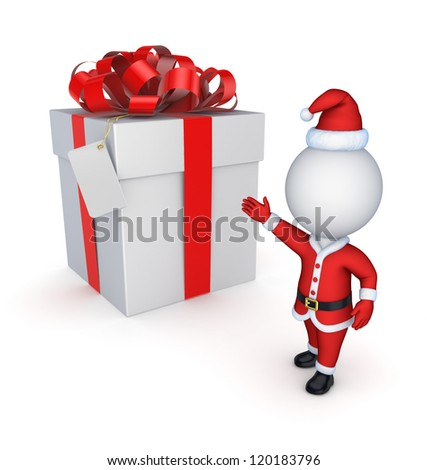 NewYear's gift.Isolated on white background.3d rendered. - stock photo