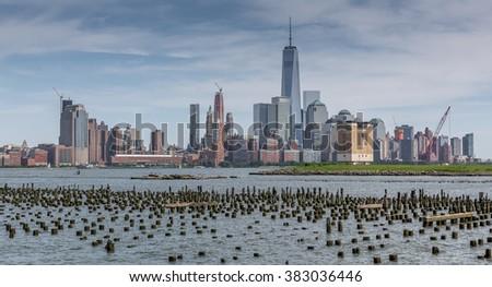 Newyork Manhattan skyline as seen from Hoboken, NewJersey - stock photo