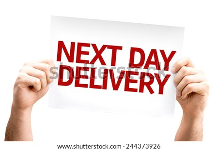 Next Day Delivery card isolated on white background - stock photo