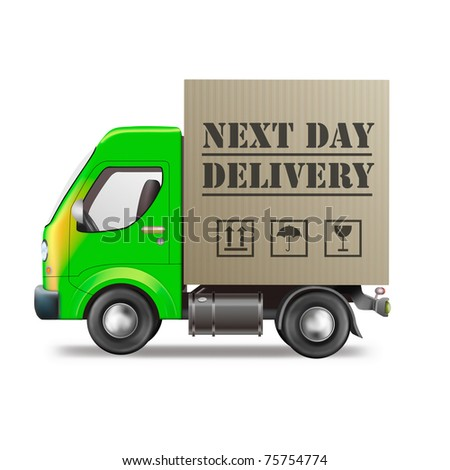 next day order delivery truck fast shipment speed sending package