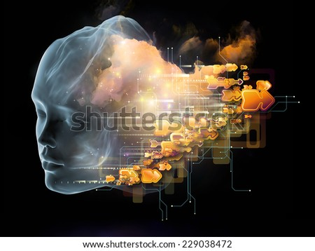 Next Generation AI series. Abstract design made of fusion of human head and fractal shape on the subject of mind, consciousness and spirituality - stock photo